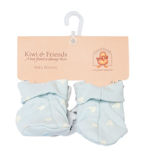 Baby Kiwi Booties Blue & Grey Twin Pack