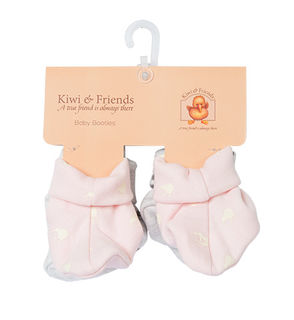 Baby Kiwi Booties Pink and Grey Twin Pack