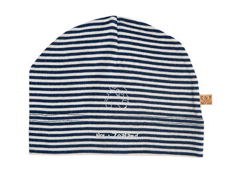 Merino Wool Baby Beanie Navy and White