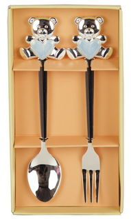 Teddy Bear Fork and Spoon Set Blue