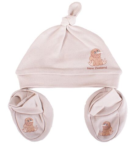 Baby Kiwi Beanie and Bootie Set Beige