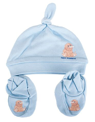 Baby Kiwi Beanie and Bootie Set Blue