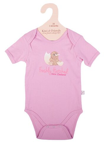 Baby Kiwi Freshly Hatched Body Suit Pink