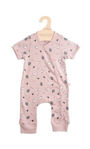 Baby Romper Kiwi and Sheep Blush