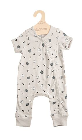 Baby Romper Kiwi and Sheep Cream