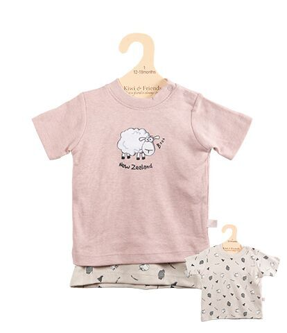 Baby T shirt Set Blush and Cream