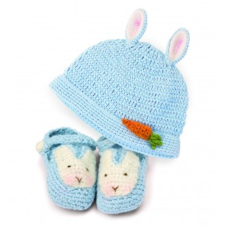 Bunny Beanie and Booties Set Blue