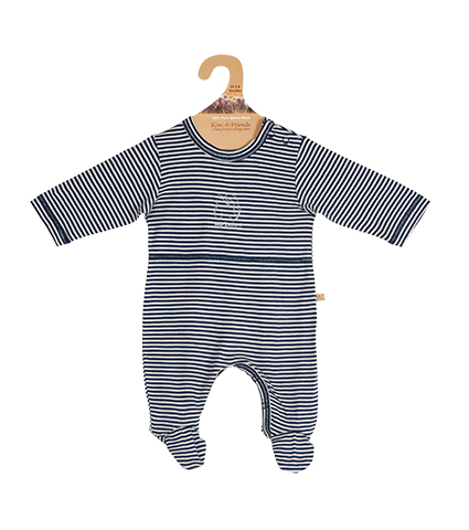 Merino Wool Baby Onesie Navy and White