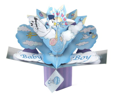 Baby Boy Pop Up Card Blue