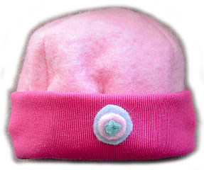 Merino Wool Beanie Pink Button