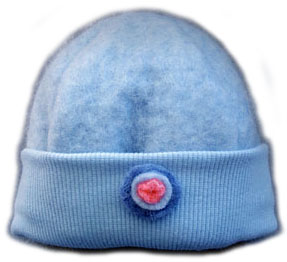 Baby Merino Wool Beanie Blue Button