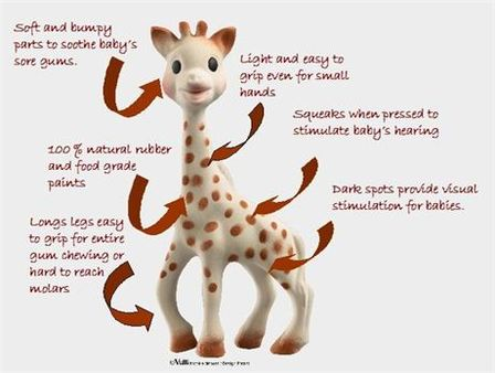 Features of Sophie the Giraffe, an ideal baby teething aid